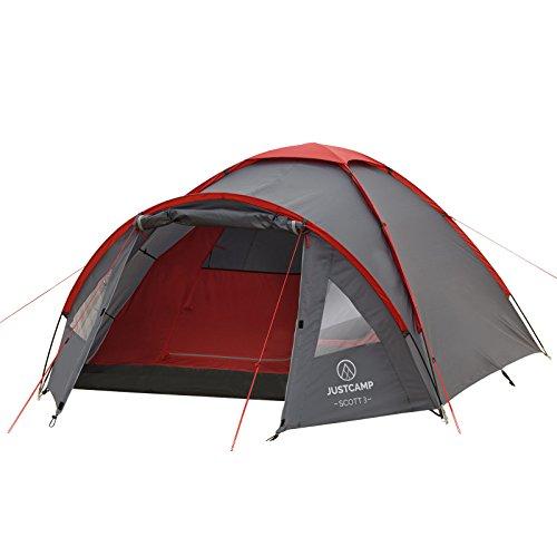Kuppelzelt Justcamp Scott 3, Campingzelt mit Vorraum, Iglu-Zelt für 3 Personen (doppelwandig) - grau