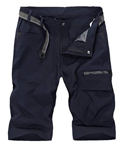 KEFITEVD Leichte Outdoor Bermuda Shorts Herren Schnelltrocknend Hose Kurz Wanderhose Atmungsaktiv Trekkinghose Multi Taschen Sommer Radhose