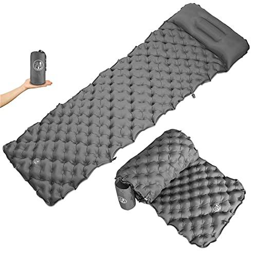 CampKnight® Isomatte und Camping-Sofa 2-in-1 + Bequem Schlafen und Sitzen + Ultraleicht und Kleines Packmaß + Verstellbares Kopf-Kissen + Aufblasbare Schlaf-Matte 190x58 cm + Outdoor Luft-Matratze