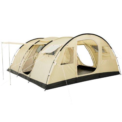 CampFeuer Tunnelzelt 'Caza' Zelt für 6 Personen | riesiger Vorraum, 5000 mm Wassersäule | vernähter Boden und versiegelte Nähte | Campingzelt Familienzelt