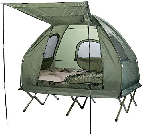 Semptec Urban Survival Technology Camping Bett: 4in1-Doppelzelt, Feldbett, 2 Winterschlafsäcke, Matratze, Sonnenschutz (Zeltbett)