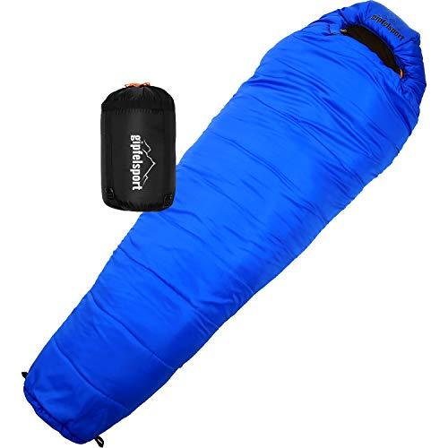gipfelsport Mumienschlafsack - Outdoor Schlafsack für Erwachsene und Kinder | Mini Sleeping Bag für Herbst und Frühling, blau
