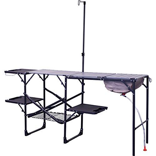 GCI Outdoor SF Campingtisch Reisetisch Klapptisch Multifunktionstisch Campingküche Campingregal Faltbar Tragbar Mit Vier Klappbaren Seitentischen Und Gitterregal