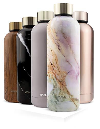 MAMEIDO Trinkflasche Edelstahl - Indigo Blau Matt - 500ml, 0,5l Thermosflasche - auslaufsicher, BPA frei - schlanke isolierte Wasserflasche, leichte doppelwandige Isolierflasche