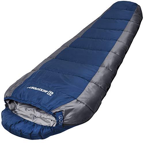 Bessport Schlafsack Outdoor 3 Jahreszeiten Leichter Wasserabweisend Mumienschlafsack Warm für Camping Trekking