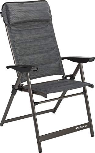 BERGER Klappsessel Slimline, grau/schwarz, Aluminium, 5-Fach verstellbar, Belastbar bis 120kg, Klappstuhl Campingstuhl