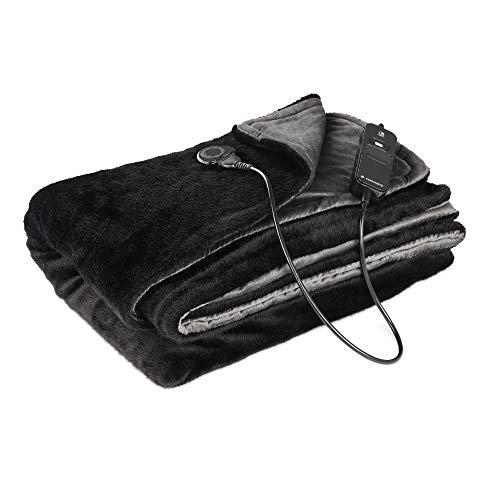 Navaris XXL Elektrische Wärme Heizdecke - 180 x 130cm 3 Wärmestufen Abschaltautomatik waschbar - extra kuschelige Bett Wärmedecke Schwarz-Grau