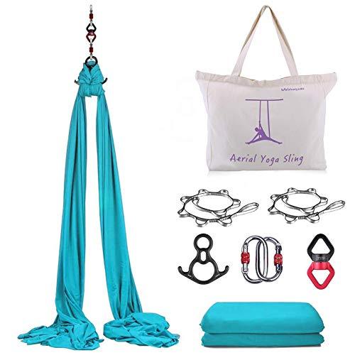 WWahuayuan 10 m Premium Aerial Silk Equipment Yoga Pilates Swing Aerial Yoga Antigravity Hängematte Trapez für akrobatische Tanz, Air Yoga, Aerial Yoga Hängematte (blau)