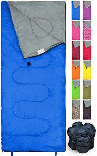 REVALCAMP Blau Schlafsack für Drinnen & Draußen. Toll für Kinder, Jungen, Mädchen, Jugendliche & Erwachsene. Ultraleichte und Kompakte Schlafsäcke sind ideal zum Wandern, Rucksackwandern & Camping