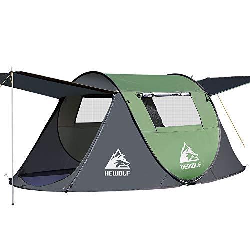 HEWOLF Wurfzelt 2-3 Personen Pop Up Camping Zelt mit Vorzelt Automatik Ultraleichtes Familienzelt Sekundenzelt Sonnenschutz Cabana Zelt für Outdoor Camping Festival, Großes Armeegrün