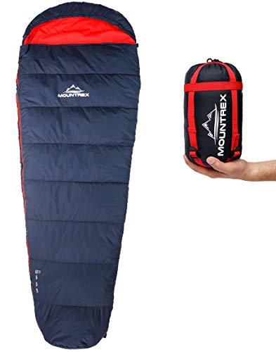 MOUNTREX Schlafsack - Kleines Packmaß & Ultraleicht (720g) - Outdoor Sommer Schlafsack, Mumienschlafsack (205x75cm) - Kompakt, Warm und Leicht für Camping, Reise oder Festival - Koppelbar (Rechts)