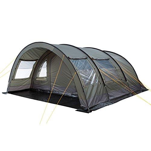 CampFeuer Tunnelzelt für 6 Personen Relax6 | Variables Tunnelzelt mit abtrennbarer Schlafkabine und 5.000 mm Wassersäule | Gruppenzelt | Campingzelt (olivgrün-grau)