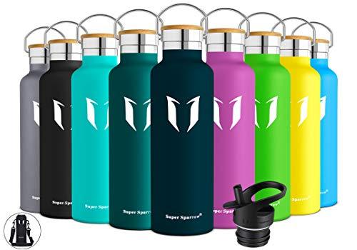 Super Sparrow Trinkflasche Edelstahl Wasserflasche - 500ml - Standardmund Isolierflasche mit Perfekte Thermosflasche für das Laufen, Fitness, Yoga, Im Freien und Camping | BPA FREI (Jade)