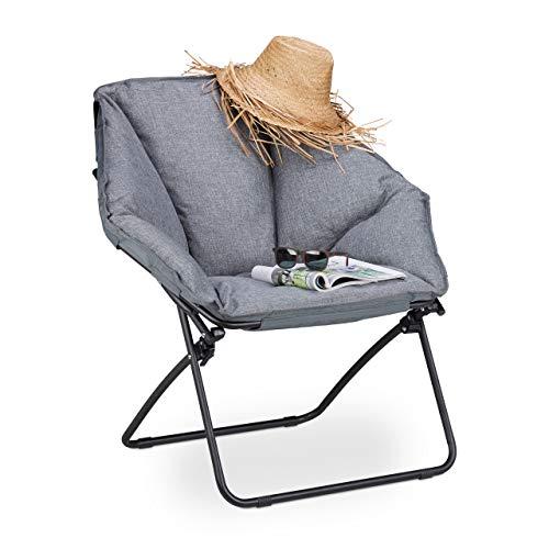 Relaxdays, grau Moon Chair XXL, klappbarer Campingstuhl für In-& Outdoor, gepolstert, bis 100 kg, HBT 87 x 85 x 70 cm