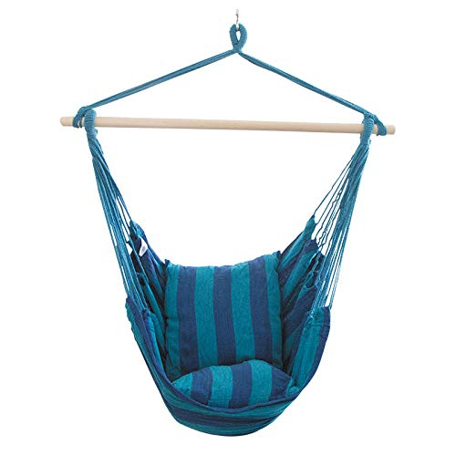 dehong XXL Schaukelsitz with Kissen,100x130cm (Bis 200kg Belastbar) Blaue Streifen Liegestuhl für Erwachsene Kinder Hängematte Home Schlafzimmer Schaukelbett