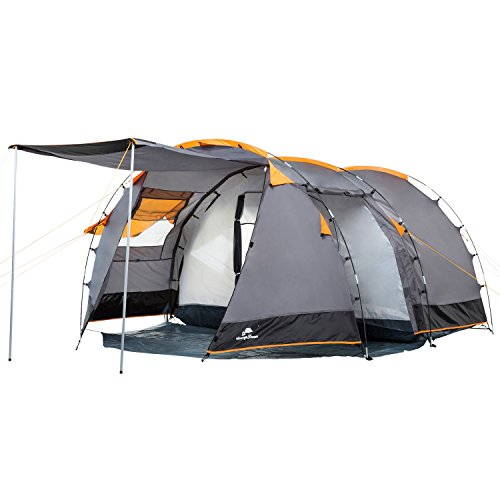 CampFeuer Tunnelzelt für 4 Personen Super+ | Großes Familienzelt mit 2 Eingängen und 3.000 mm Wassersäule | Gruppenzelt | Campingzelt (grau)