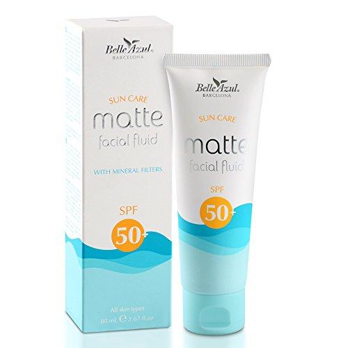 Belle Azul - Sun Facial - GESICHTS SONNENCREME - SPF 50+ - Anti Aging & Feuchtigkeitsspendend - Mit Vitamin E und C - Mattes Finish - Für alle Hauttypen - Mineralische Filter - Vegan / 80 ml.