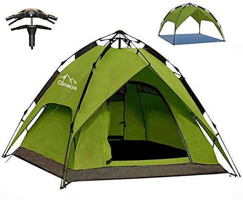 Climecare Wurfzelt Pop Up Zelt 2-3 Personen, Campingzelte Winddicht Kuppelzelt Leichtes Sekundenzelt, Sofortiges Aufstellen Strandzelt Familienzelt (Grün)