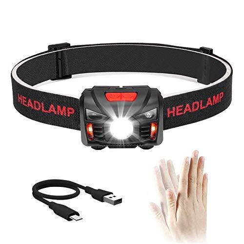 Winzwon USB Wiederaufladbare LED Stirnlampe Kopflampe, Sehr hell, Wasserdicht Leichtgewichts Mini stirnlampen Perfekt fürs Laufen, Joggen, Angeln, Campen, für Kinder
