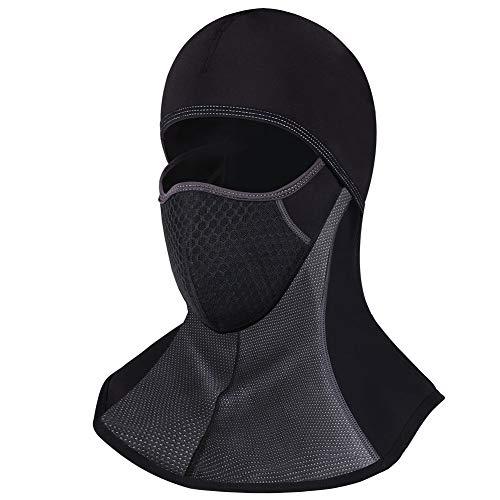 ROTTO Sturmhaube Skimaske Balaclava Sturmmaske für Motorrad Winter Motorradmaske Fleece Wasserdicht Winddicht Thermal Universalgröße (Schwarz-A(mit Reißverschluss))