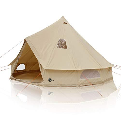 your GEAR Desert 8 Mann Campingzelt Tipi mit Stehhöhe Familienzelt aus Baumwolle mit Bodenwanne und UV50+ Schutz