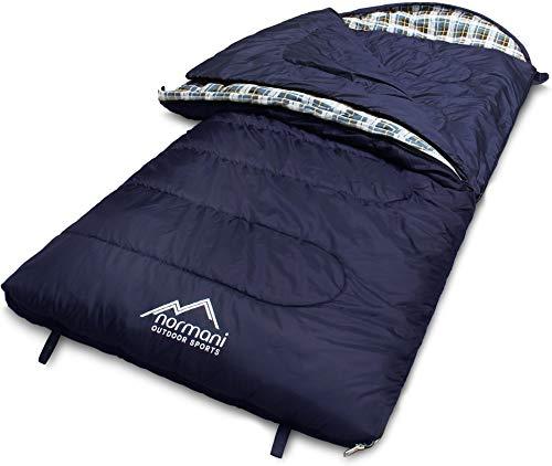 normani 4-in-1-Funktion Extrem Outdoor Schlafsack 'Antarctica' aus Nylon Rip-Stop mit 500 + 250 g/m² Hollow Fiber Füllung 220 x 90 cm Farbe Blau Größe Links