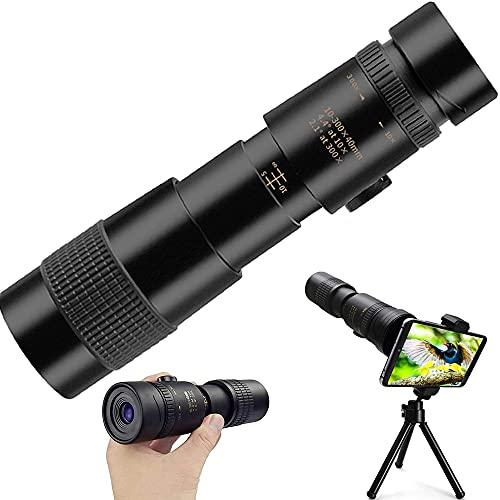 Monocular Telescope, 4K 10-300X 40mm Monocular Starscope Telescope, HD Fernrohr Wasserdicht Beschlagfrei Stoßfest Telezoom mit Smartphone Halterung & Stativ für Camping ect