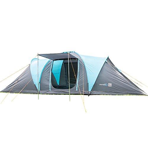 skandika Kuppelzelt Hammerfest für 8 Personen | Campingzelt mit eingenähtem Zeltboden, 2 m Stehhöhe, 2 Schlafkabinen, 2 Eingänge, Moskitonetze, Sonnendach, 2000 mm Wassersäule, Zelt zum Campen