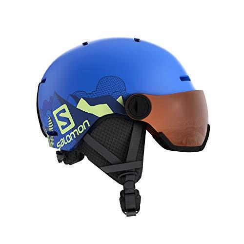 Salomon Kinder Ski- und Snowboardhelm mit Visier, In-Mold-Schale + EPS-Innenschale, Größe S, Kopfumfang 49-53 cm, blau (Pop Blue Mat/Univ.), L40539600
