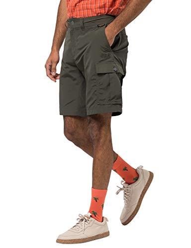 Jack Wolfskin Herren Canyon Cargo Shorts Schnelltrocknende Kurze Wanderhose, Dark Moss, 46
