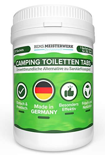 Camping WC Tabs Campingtoilette- Umweltfreundliche Alternative zu Camping Toilette Sanitärflüssigkeit - 17 Ungiftige Tabs mit Löslicher Folie - Bindet Gerüche Effektiv, zersetzt Fäkalien & WC Papier