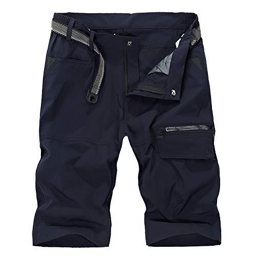 LHHMZ Herren Draussen Atmungsaktiv Wandern Kurze Hose Schnelltrocknend Leicht Sportliche Casual Cargo Shorts Gehende Hosen Bermuda mit Mehreren Taschen