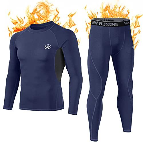 MEETWEE Thermounterwäsche Funktionsunterwäsche Herren, Skiunterwäsche Winter Suit Atmungsaktiv Lange Thermo Unterwäsche Set Thermowäsche Unterhemd + Unterhose-Blau-S