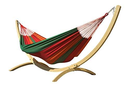 MacaMex Siesta Grande Bahia HängemattenSet-extra großes Holzgestell mit Brasilianischer Hängematte