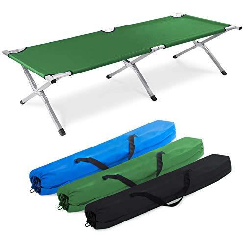 GOODS+GADGETS Faltbares Army Feldbett aus Aluminium - klappbares Campingbett & Gästebett (Grün)