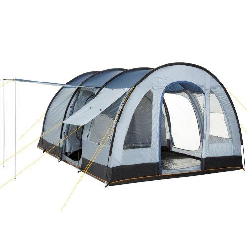 CampFeuer Tunnelzelt TunnelX | Großes Familienzelt mit 3 Eingängen | 5.000 mm Wassersäule | Zelt für 4 Personen Campingzelt (blau/grau)