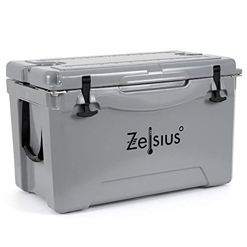 Zelsius Kühlbox 50 Liter   Coolbox   Tragbare Cooling Box ideal für Auto Camping Urlaub Angeln Freizeit Outdoor   Thermobox für Warm und Kalt (grau)