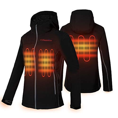 CONQUECO Beheizte Jacke Damen Beheizbare Heizjacke Wasserdicht Winddicht warm mit Akku für Outdoorarbeiten und Tägliches Tragen