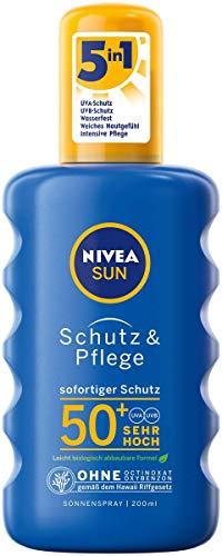 NIVEA SUN Schutz & Pflege Sonnenspray im 1er Pack (1 x 200 ml), feuchtigkeitsspendendes Sonnencreme Spray mit LSF 50+, wasserfeste Sonnenlotion