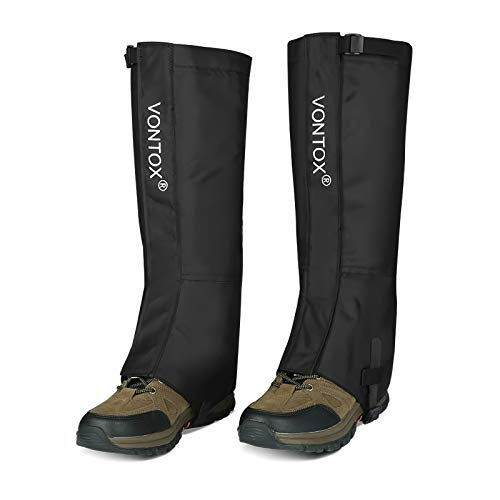 V VONTOX Outdoor Gamaschen (M), wasserdichte Wander Gamaschen Verstellbare Oxford für Frauen und Männer, für Radfahren Snowboarden Wandern (Klettverschluss)