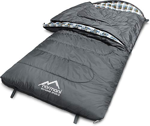 normani 4-in-1-Funktion Extrem Outdoor Schlafsack 'Antarctica' aus Nylon Rip-Stop mit 500 + 250 g/m² Hollow Fiber Füllung 220 x 90 cm Farbe Grey Größe Links