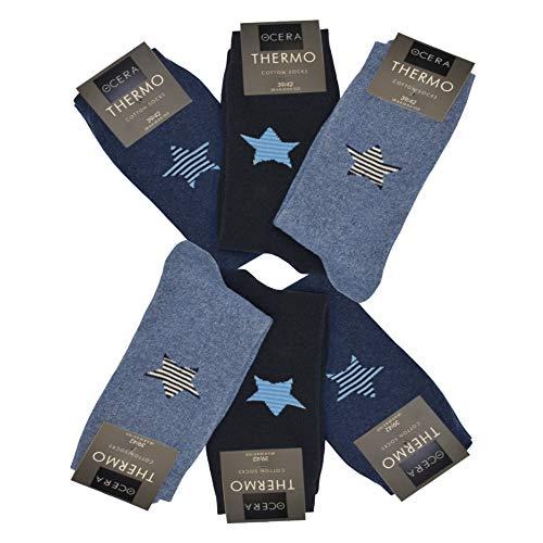 OCERA 6 Paar Thermo Socken für Damen mit Sternenlogo im Farbmix Marine Gr. 35/38