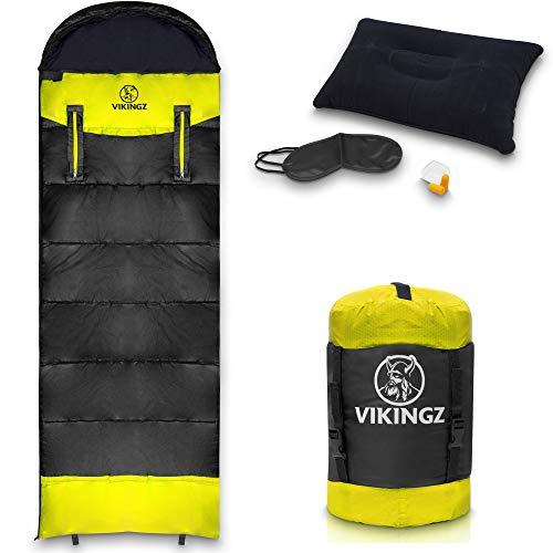 VIKINGZ Schlafsack 3-4 Jahreszeiten für Erwachsene und Kinder   Ultraleicht sehr kleines Packmaß   Wasserdicht und waschbar   Ideal für Camping Festival & Survival inkl Kompressionssack & Bonus-Set