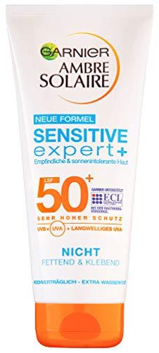 Garnier Sonnenmilch LSF 50 für empfindliche Haut, Sonnencreme für Gesicht und Körper, Ambre Solaire Sensitive expert+ Milch mit LSF 50+, 1 x200 ml