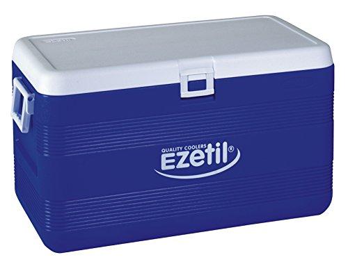 EZetil Passive Kühlbox 3Tage Eis in länglicher Form bietet optimalen Kühlstauraum für Outdooraktivitäten wie Camping, Grillen, Sport und Freizeit, Blau/Weiß
