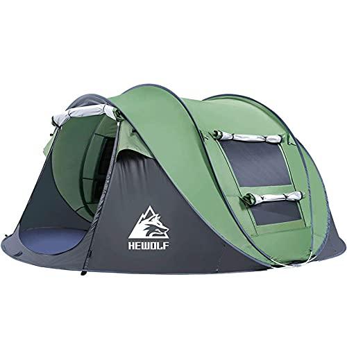 HEWOLF Wurfzelt 2-3 Personen Wasserdicht Pop Up Camping Zelt Automatik Ultraleichtes Familienzelt Sekundenzelt Sonnenschutz Cabana Strand Zelt für Outdoor Camping Festival, Großes Armeegrün