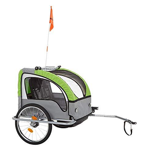 FISCHER Kinder Fahrradanhänger KOMFORT mit Federung, für 2 Kinder, TÜV GS geprüft, grün/anthrazit