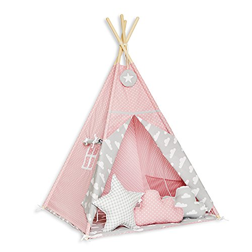 FUNwithMUM Tipi Zelt Spielzelt Teepee Fur Kinder Indianer Wigwam Kinderzimmer Garten Bodenmatte 3xKissen 100x100x150 Baumwolle - Cloudy Roses