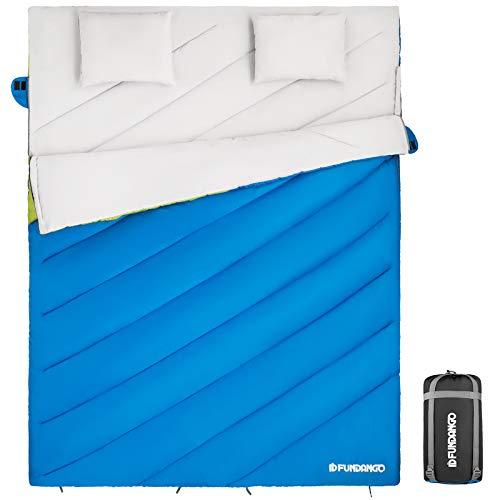 FUNDANGO Doppelschlafsack für 2 Personen für Erwachsene kompakt wasserdicht warm für Camping Rucksackreisen Wandern Übergröße XL mit Tragetasche und 2 Kissen
