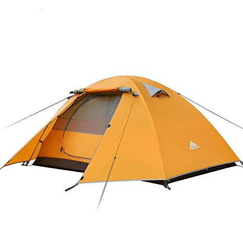 Forceatt Zelt 2 und 4 Personen Camping Wasserdicht 3-4 Saison,Ultraleicht Zelte Mit Kleinem Packmaß, Kuppelzelt Sofortiges Aufstellen Für Trekking, Outdoor, Festival. (2 Leute-Khaki grau)